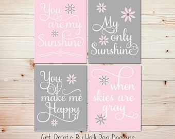 Nursery art prints Pink gray baby decor You are my sunshine Baby art Sunshine prints Girls room art Pink nursery artwork Toddler decor #1027