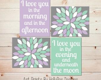 Nursery decor Nursery wall decor Baby girl art Girls room decor Purple mint nursery art prints Girl quotes Baby prints Nursery quotes #1178