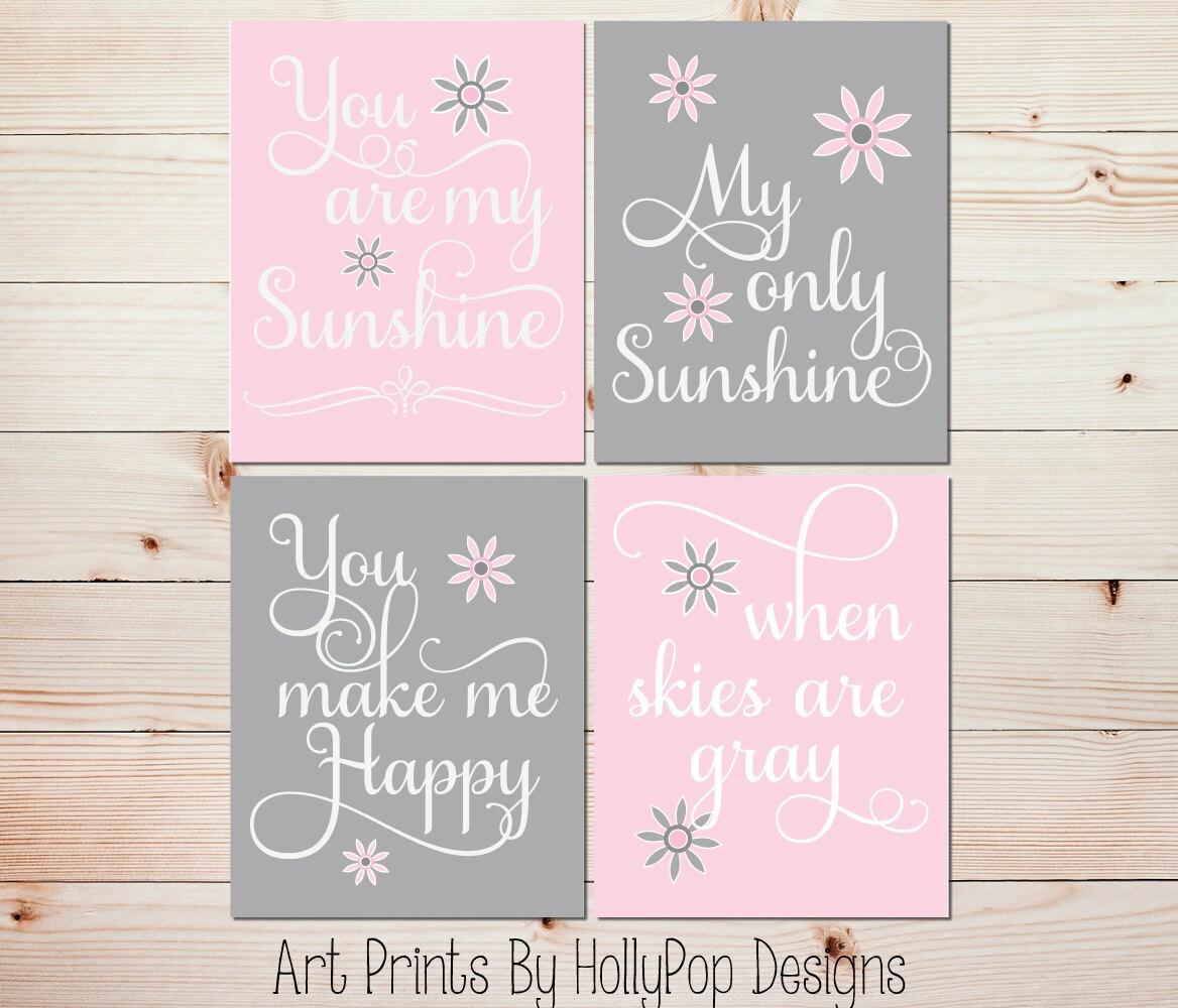 nursery art prints pink gray baby decor you are my sunshine. Black Bedroom Furniture Sets. Home Design Ideas