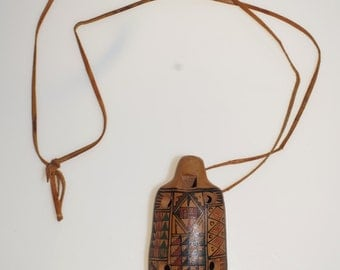 Acoma Pottery Clay Redware Ceramic Flute Whistle 3.75""