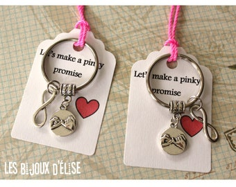 Set of 2 Pinky Promise Forever Infinity Keychains His and Hers Couple Keychains Friendship Keychains Valentine's Keychains (PI03)