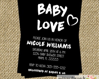 Baby Love Baby Shower Invitation Modern Black and White Fresh Artistic Birthday Bridal Shower Party CHOOSE WORDING