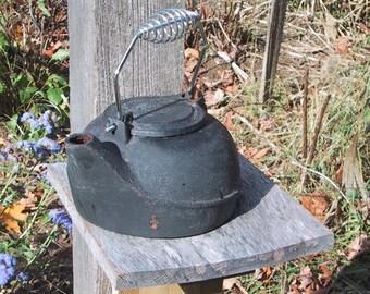 Old Black Cast Iron Tea Kettle