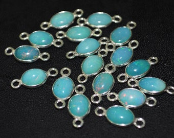5 pc of Ethiopian opal 92.5 sterling Silver connector 15x7 mm Approx with Bails