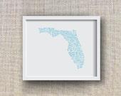 Florida Art Print -- Hand Lettered Florida Counties Map Art  -- Florida Typography Print, Florida Gift, Florida Artwork