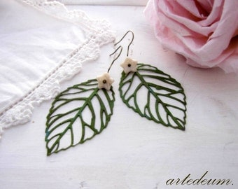 Leaf earrings in Green with ivory flowers vintage jewelry Dangles lightweight nature Valentines day gift for her