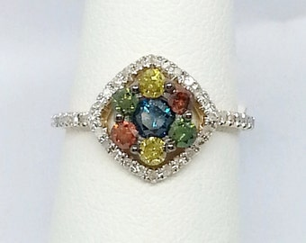Multi Colored Diamond .75ctw Round 10k Yellow Gold Ring Size 6
