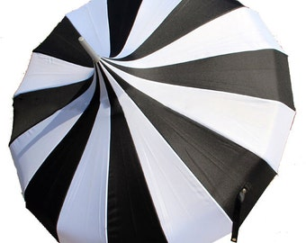Pagoda Black and White Stripe Bridal Umbrella