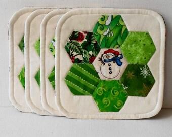 Handmade Cotton Christmas Characters Mug Mats set of 4