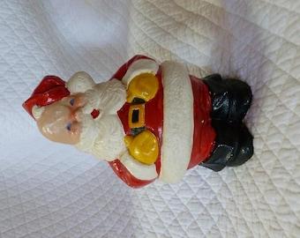 Vintage Santa Clause Figurine~Heavy Plaster Santa Clause~1940's Christmas~Hand Painted Santa Figure~Bald Santa~Jolly Santa~Christmas Decor