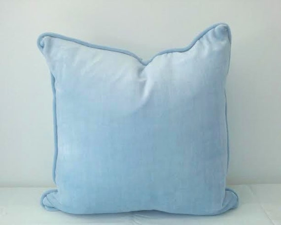 Baby Blue And Brown Throw Pillows : Velvet Baby Blue Throw Pillow Cover 16 by 16 by CushionsandMore
