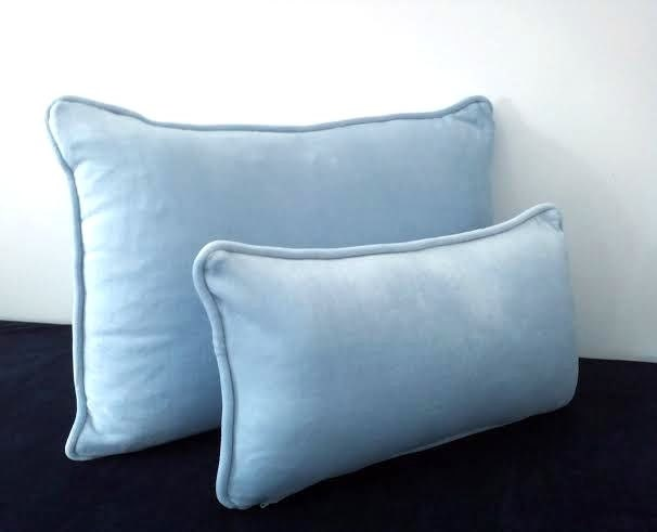 Velvet Baby Blue Throw Pillow 18 by 10 Small by CushionsandMore
