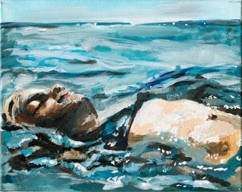 Floating. Figure Painting, Water painting, Wall Art, Fine Art Print