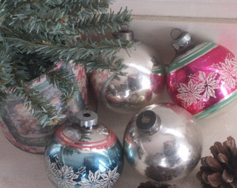 4 Vintage Glass Ornaments Vintage Striped Ornaments