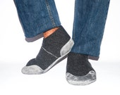 Men Cashmere Slippers with Suede Leather Soles, Eco-friendly Men Wool Shoes, Men Cashmere Socks. USA Adults 6.5 -16