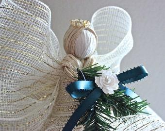 Christmas Tree Topper - Raffia Angel Tree Topper - Cream & Gold Raffia Angel w/ Hunter Green Ribbon and White Flower Christmas Ornament