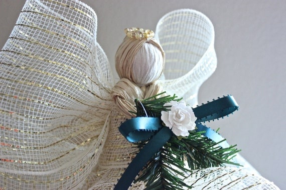 Christmas Tree Topper Raffia Angel Tree Topper Cream