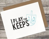 "Hanukkah ""Play for Keeps"" Draddle 5.5 x 4.25 Card"