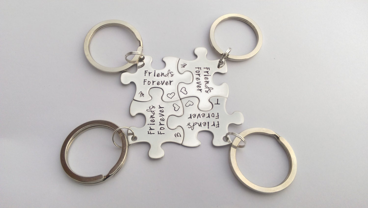 Personalised friends gift - friends keyrings - jigsaw puzzle piece keyrings -Friends matching gifts - long distance friendship - best friend