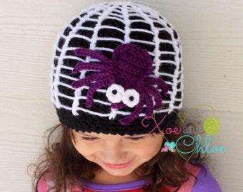 Spider crochet hat