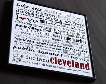 cleveland ohio 12x12 word art or 16x16 canvas art - can be personalized