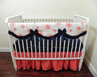 Custom Bumperless Crib Bedding Set Tabitha - Scalloped Teething Rail Guard Cover in Coral and Navy