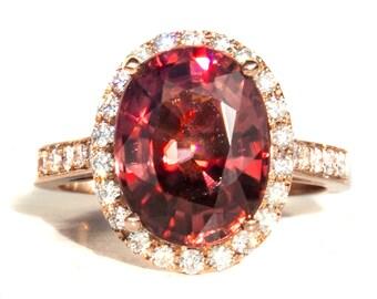 Tanzanian Rose Zircon & Diamond Designer 14K Ring