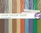 Wood Pattern Digital Papers, Wood grain digital paper 12x12, digital scrapbooking paper, wood grain pattern blue green brown neutral colors