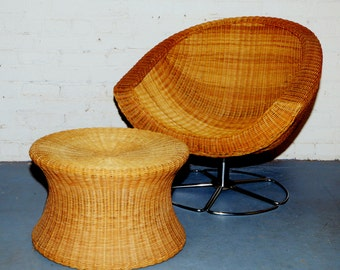SOLD 1970's Wicker Coconut Swivel Chair w Chrome Base and Vintage Wicker Mushroom Stool