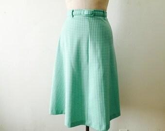 60s Seafoam Green High Waisted Skirt