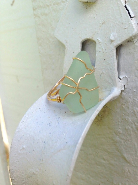 Seaglass Wrap Ring in Gold / Silver