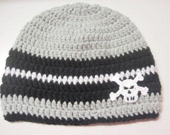 Adult Winter Skull Hat, Men's Skull hat, Mens Hat, Skull and Crossbones Hat, Skull Hat, Pirate, Crochet Skull Hats