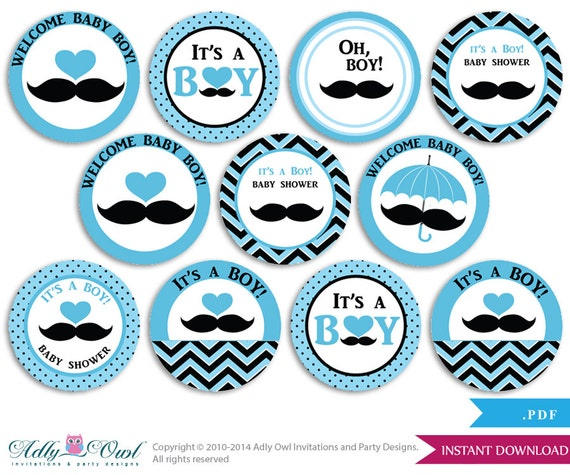 Boy Mustache Cupcake Toppers for Baby Shower Printable DIY