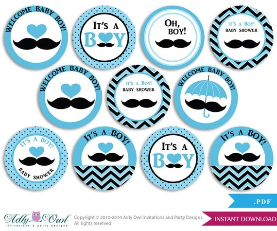 Boy Mustache Cupcake Toppers for Baby Shower Printable DIY, favor tags ...
