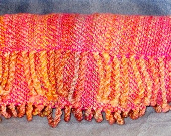 Bubble Gum - Hand woven, hand spun Rambouillet  and alpaca and silk blend scarf