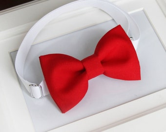 Red bow-tie for babies, toddlers, boys, teens, adults - Adjustable neck-strap
