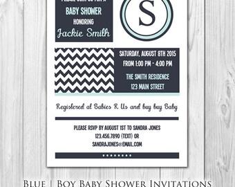 Modern Blue Baby Shower Invitation |  (8 Invitations and 8 Envelopes)