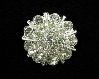 Sparkling Rhinestones - Set of 2 Metal Buttons - 25mm Rhinestone Buttons - MB-143