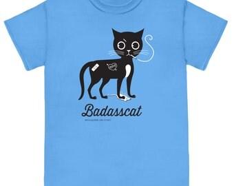 BADASSCAT New Design! on Blue Unisex Cat Tee Shirt