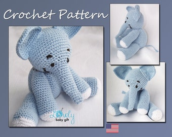 Crochet Doll Patterns On Etsy : Amigurumi Crochet Elephant Pattern