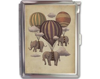 Vintage Elephant and Hot Air Balloons Cigarette Case Lighter Wallet Business Card Holder