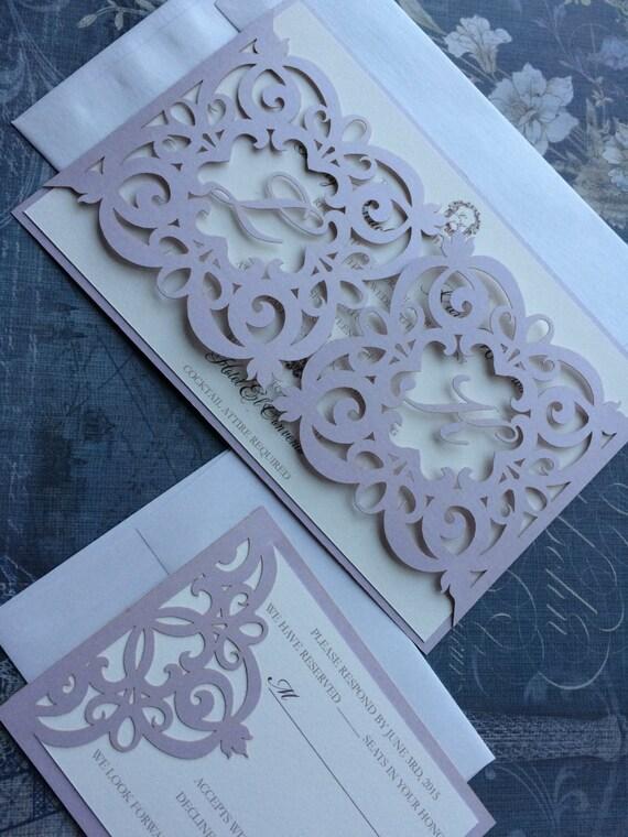 laser cut wedding invitation monogram iron gate bi