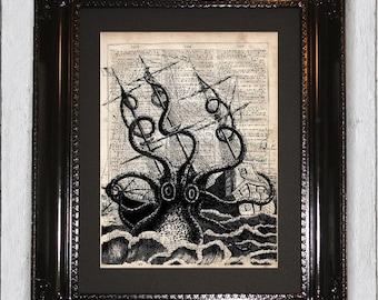 Kraken Ship Print, Octopus Print, Nautical Dictionary Art Print, Dictionary Page,Print on dictionary paper, Wall Decor, Dictionary art print
