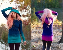 Colorful Hand Dyed Hoodie Dress CUSTOM COLORS Created by You