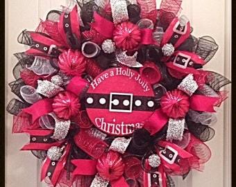 Holly Jolly Santa Christmas Deco Mesh Wreath/Christmas Wreath/Red, SIlver and Black Christmas Wreath/Santa Christmas Wreath