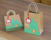 Camping Party Favor bags and tags - Personalized (set of 6)