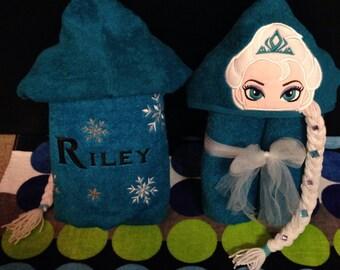 Personalized Elsa Inspired Hooded Towel/ Frozen Towel/ Disney Towel