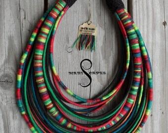 POLISH FOLK-inspired yarn-wrapped necklace / tribal / hippie / bohemian / folk / colorful / rope