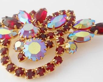 Ruby Red Rhinestone Brooch Pin With Aurora Borealis Stones