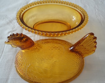 Amber Indiana Glass Chicken Nesting Dish With Lid